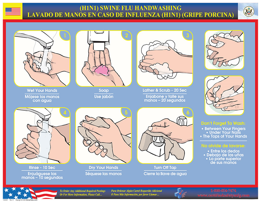 H1n1 Hand Washing Poster Bilingual Certified Safety