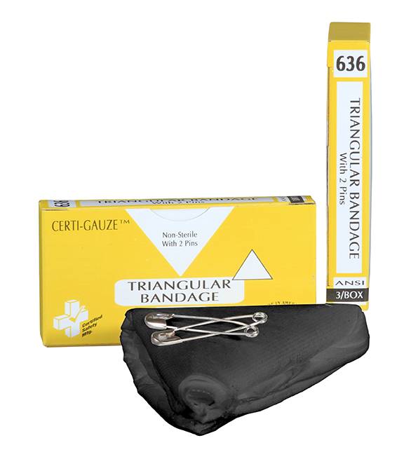 R211-033 - 636 - Triangular Bandage - w Pins - 3 Unit - BLACK