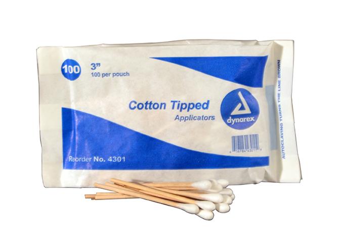 R224-204 - Cotton Swabs - 3 in - 100 pkg